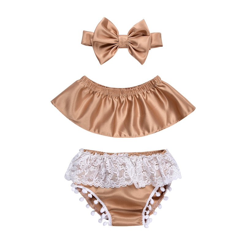 2017 New Fashion Newborn Baby Girl Clothes Set Off Shoulder Top T-Shirt+Shorts Pants 3PCS Outfit