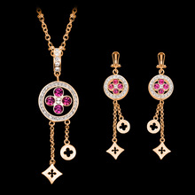 Vintage Fashion Crystal Bridal Jewellery Set for Women Gift Necklace Earrings Jewellery Set For Women Gift P15