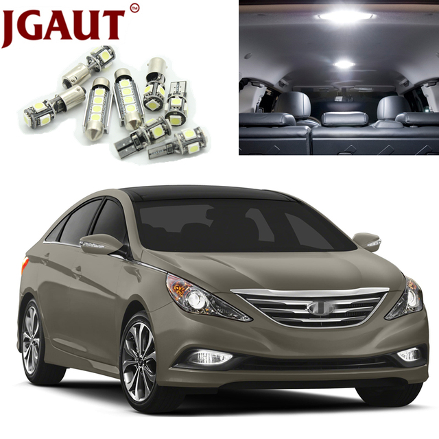 JGAUT White Car LED Light Bulbs Interior Package Kit For 2011 2012 2013 2014  Hyundai Sonata