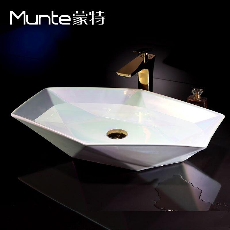 US $361.0 |An der Europäischen kunst bühne becken badezimmer waschbecken  keramikbecken waschbecken diamant schüssel becken-in Bad Waschbecken aus ...