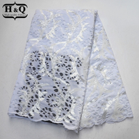 White Net lace patchwork 5 yards African lace fabrics with Sequins and Stones High quality Velvet lace fabric for Wedding dress