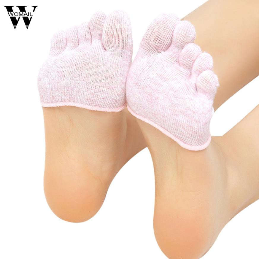 1 Pair Of Women Invisible Toe Socks Made Of Cotton Blend Material For Yoga Gym 2
