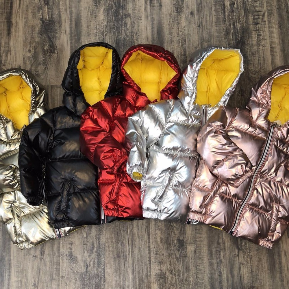 Children winter warm jacket for kids girl silver gold Boys Casual Hooded Coat Baby Clothing Outwear