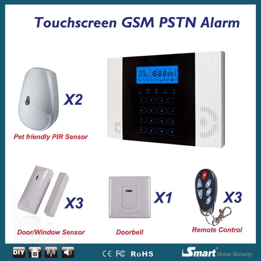 Free Shipping Wholesale Wireless PSTN GSM Alarm System 433MHz Home Burglar Security Alarma Casa free shipping 315mhz and 433mhz wireless rfid key tag for wolf guard gsm wireless security burglar home alarm system