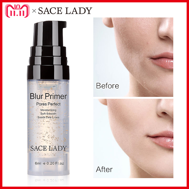 SACE LADY Blur Primer Makeup Base 6ml Face 24k Gold Elixir Oil Control Professional Matte Make Up Pores Brand Foundation Primer primer makeup base liquid farsali 24k rose gold infused elixir skin face care essential oil anti aging makeup base 5012