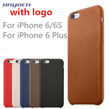 with Logo Luxury Leather For iphone 6 Case for iphone 6 4.7 Original Copy Back coque For iphone 6 Plus cases Cover Official 1:1