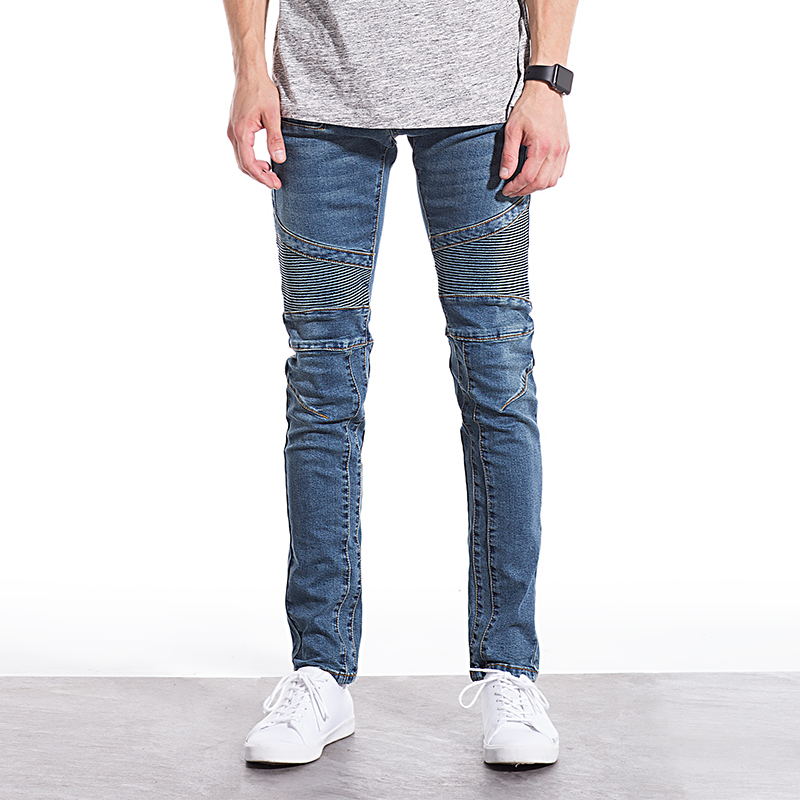 Classic Popular Biker patchwork Men Jeans high quality Cotton Denim Jeans Men Fashion Slim Washed Mens Jeans Size:28~38 2016 high quality mens jeans blue color printed jeans for men ripped button jeans casual pants quality cotton denim jeans