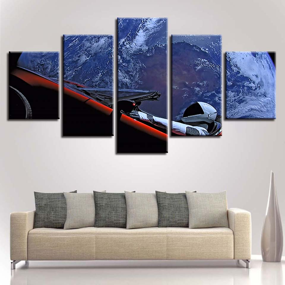 Painting Living Room Canvas Wall Poster Pictures 5 Panel space Frames In Modular Print Cuadros Decoration Sun Sunrises