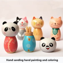 Toothpick Holder Japanese-style Wooden Storage Decoration Toothpick Dispenser Cartoon Tooth Pick holder Tandenstoker Houder(China)