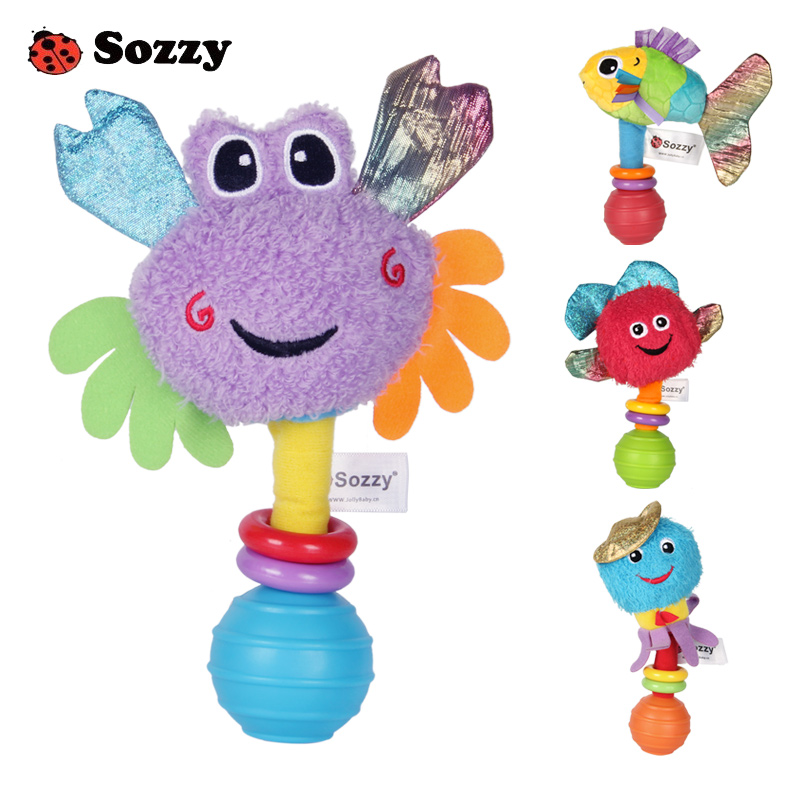 Sozzy Cute Plush Baby Fluffy Fish Rattle Toys Infant Developmental Educational Toys For Children
