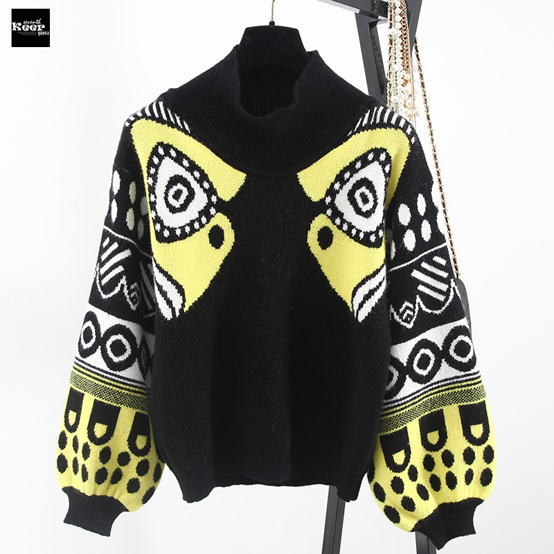 2018 New Fashion Sweater Female Pullovers Loose Lantern Sleeve Turtleneck Knitted Sweaters Pullover Runway Designer Tops Jumper