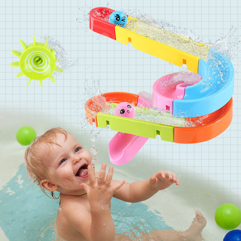 Kid Water Game Marble Run Race Maze Suction Cup Orbits Bathroom Toy Baby Bath Track Toys for Child Assembling Track Slides Block