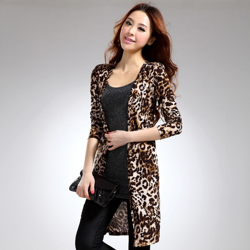 Fashion 2017 Cardigan Women Sweater casual Leopard Print Open ...