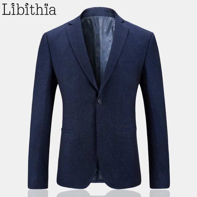 2017 Мужчин Сплошной Цвет Blazer Куртки М-3XL Формальный Костюм Пальто Slim Fit Мужской Роскошные Повседневная Одежда Мужчины Весте Homme Синий K234