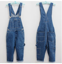 28-46 2015 Jeans Men's Cargo Pants Men Workers Trousers Suspenders Big Yards Men's Denim Overalls Wave In Loose Pants