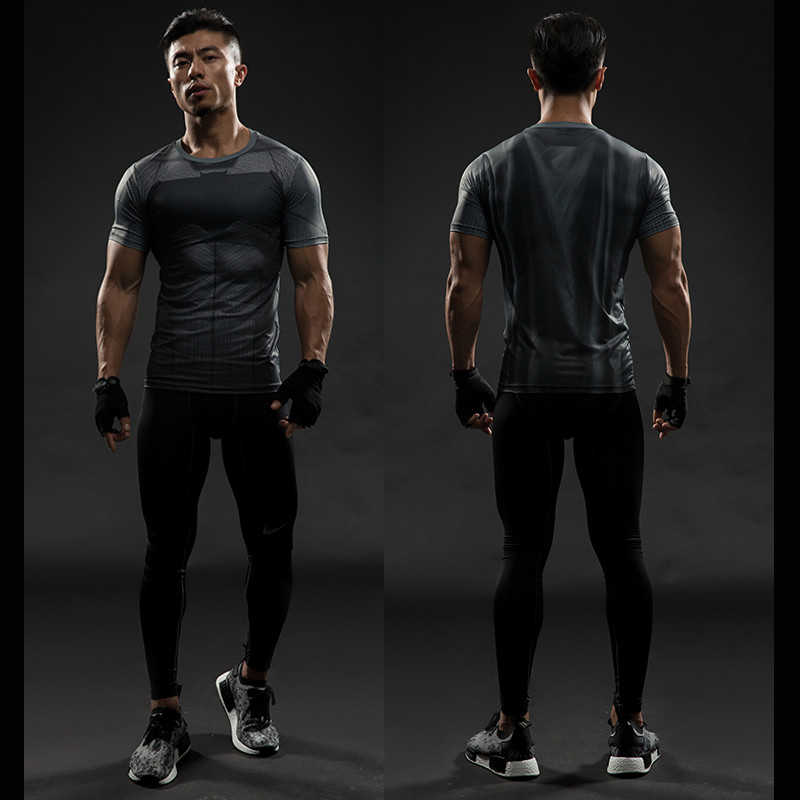 2019 Nuovo batman camicia di compressione di fitness Calzamaglia quick dry manica corta t camicia Degli Uomini di Estate tee top abbigliamento