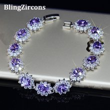 BlingZircons Big Oval Purple Austrian Crystal Connect Bracelets & Bangles Women Silver 925 Jewelry Romantic Gift For Wife B024