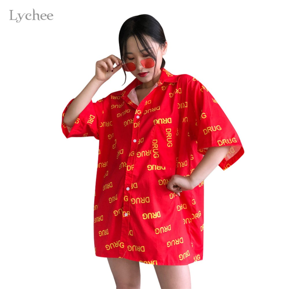 Lychee Harajuku Hit Color Letter Women   Blouse     Shirt   Casual Loose Short Sleeve   Blouse   Turn Down Collar   Blouse     Shirt   Tops