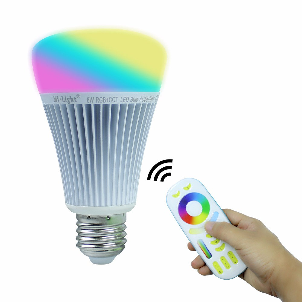 MiLight LED Bulb Dimmable 8W E27 RGB CCT Led Lamp Light Spotlight Indoor Decoration + 2.4G 4-zone RF Wireless Remote Controller dc12v 2 4g wireless milight dimmable led bulb 4w mr16 rgb cct led spotlight smart led lamp home decoration