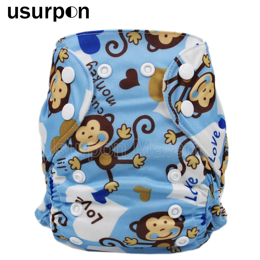[usurpon] 1pc Newborn Cloth Diaper With Double Leg Gusset Washable And Resuable Newborn Diaper Suits 0-3 Months
