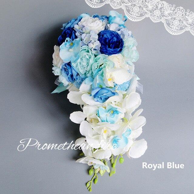 Новый Искусственный Водопад Королевский Синий Свадебные Букеты Для Невест Капли Розовые Цветы Люкс Для Невесты Брошь Букеты 2017