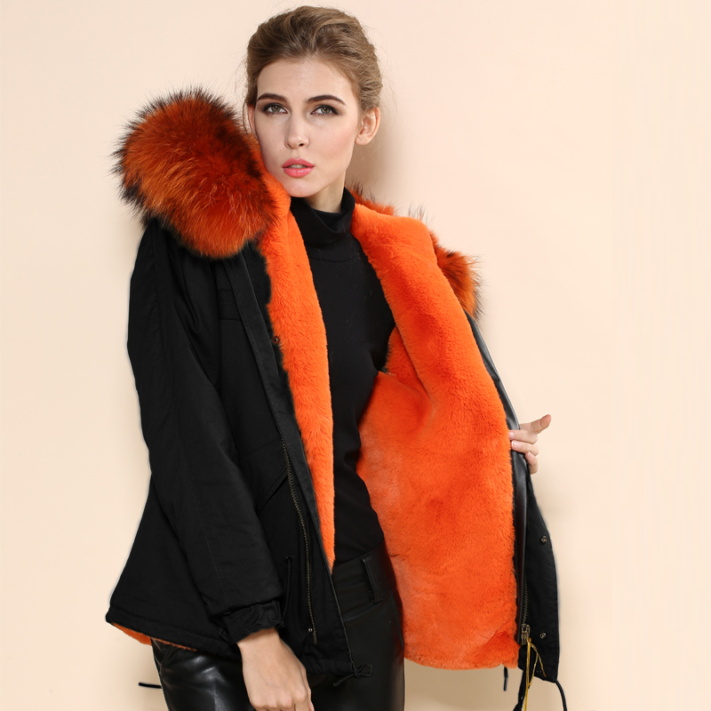 Women Fur Hooded Parka Black with orange fur Lined Parka Mr Mrs ...