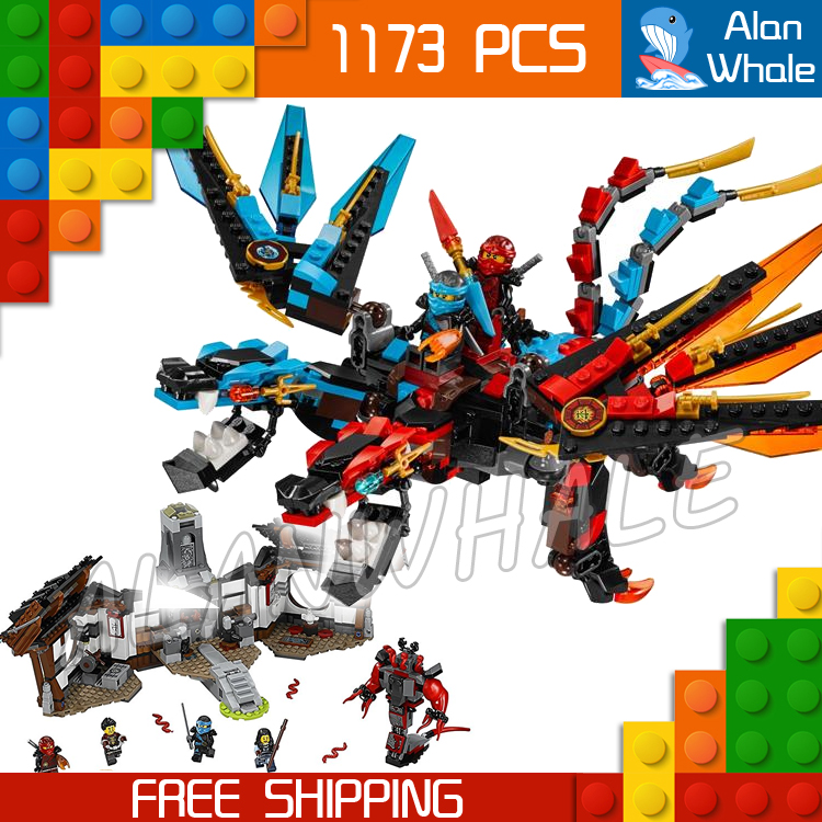 ФОТО 1173pcs Ninja New 10584 Dragon's Forge DIY Model Building Kit Blocks Gifts Toys Compatible with Lego
