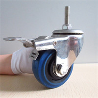HOT 1 Pcs 3 Inch Blue Elastic Rubber Wheel Castor Stainless Steel Screw 10MM Caster With
