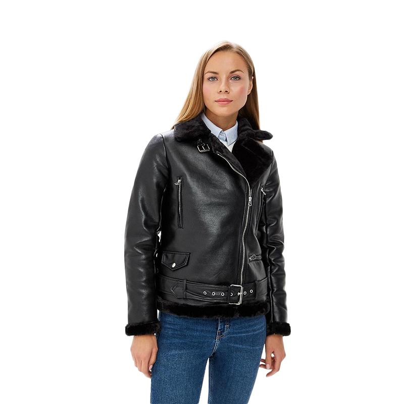 Faux Leather MODIS M182W00449 for female for woman TmallFS zip up patch faux leather flocking jacket