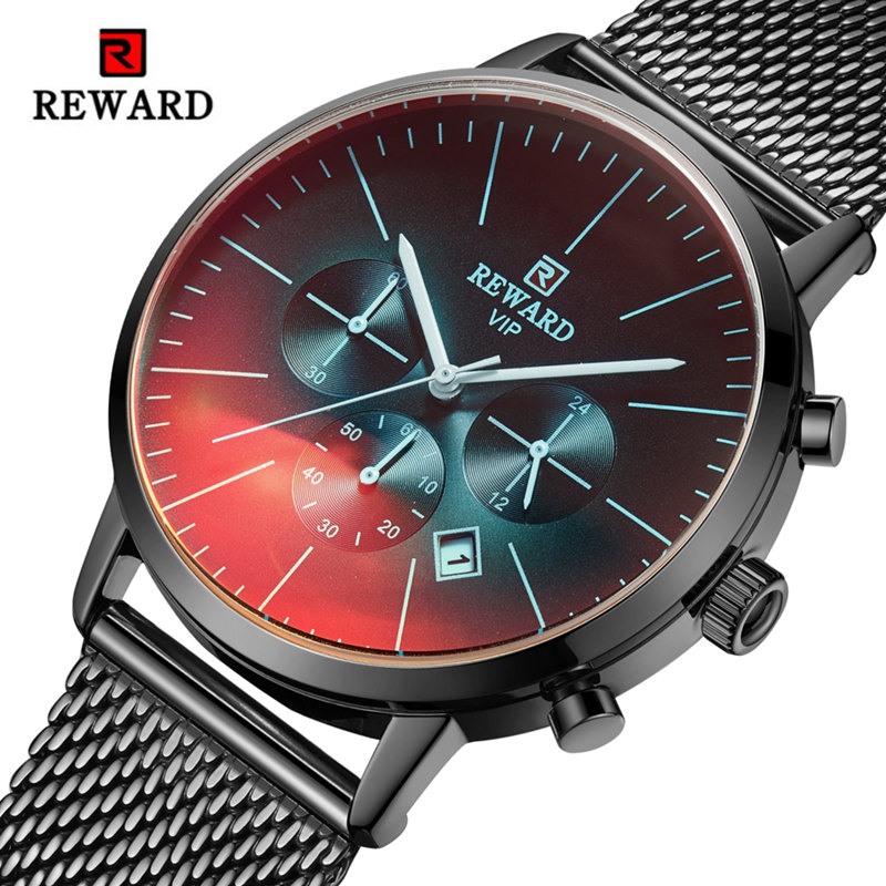 Men's Wistwatch Brand REWARD Relogio Masculino Watch Fashion Special Colorful Glass Sport Watch Creative Luxury Waterproof Clock