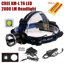 AloneFire HP87 cree led Headlight Cree XM-L T6 LED 2000LM cree led Headlamp light+AC Charger/Car charger/2x4200mAh 18650 battery