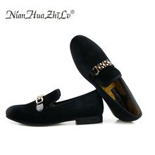 New fashion velvet men shoes with gold chain buckle mens loafers wedding and party Men Flats Size US 6.5-13.5