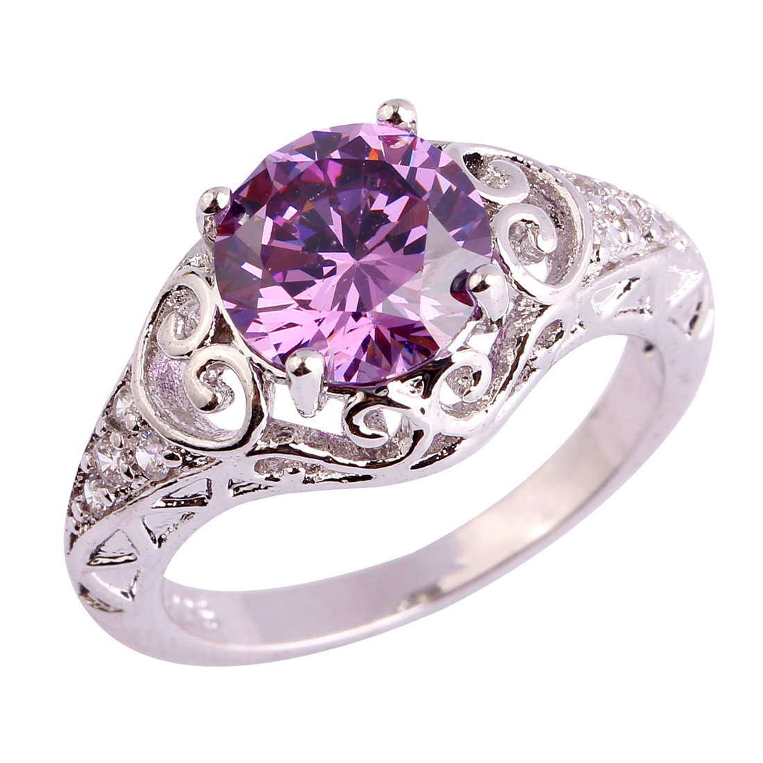 AAA CZ Wholesale Women Men Ring Plated Silver Ring Size 6 7 8 9 10 11 Free Shipping Hollow Out Purple Jewelry