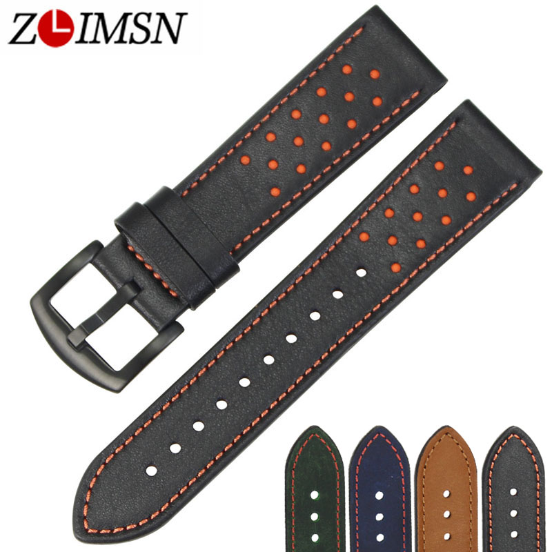 ZLIMSN Watch Strap Green Blue Black Brown Genuine Leather Watchbands Replacement 22mm with Black Stainless Steel Buckle zlimsn high quality thick genuine leather watchbands 20 22 24 26mm brown watch strap 316l brushed silver stainless steel buckle