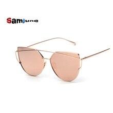 Samjune Cat Eye Sunglasses Women Vintage Fashion plastic Frame Mirror Sun Glasses Flat sun glasses Ladies Sunglasses