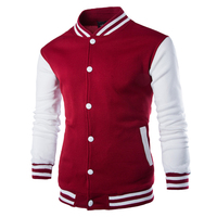 College Baseball Jacket Men 2017 Fashion Design Wine Red Mens Coat Slim Fit Varsity Jacket Men Brand Stylish Veste Homme F3