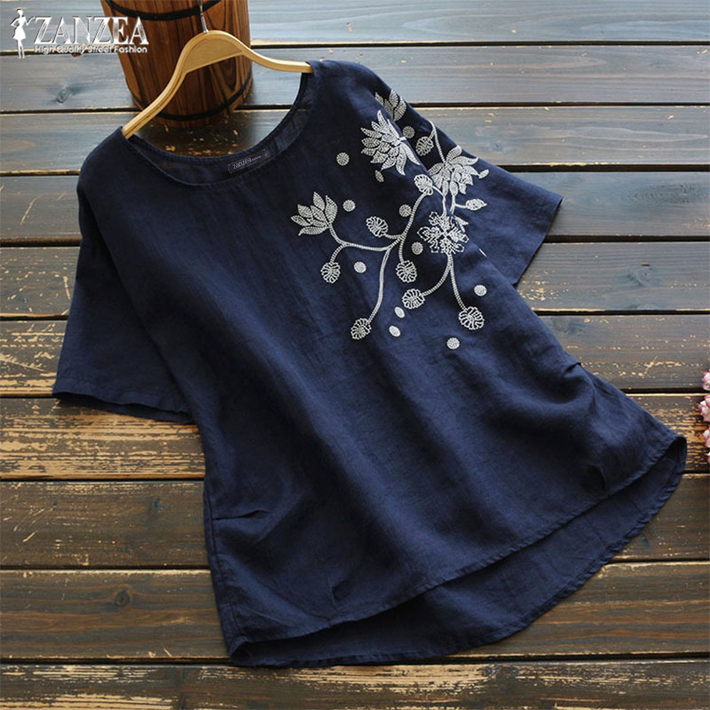 Summer Blouse 2020 ZANZEA Vintage Embroidery Tops Women Short Sleeve Cotton Linen Shirts Female O Neck Blusas Tunic Chemis S-5XL