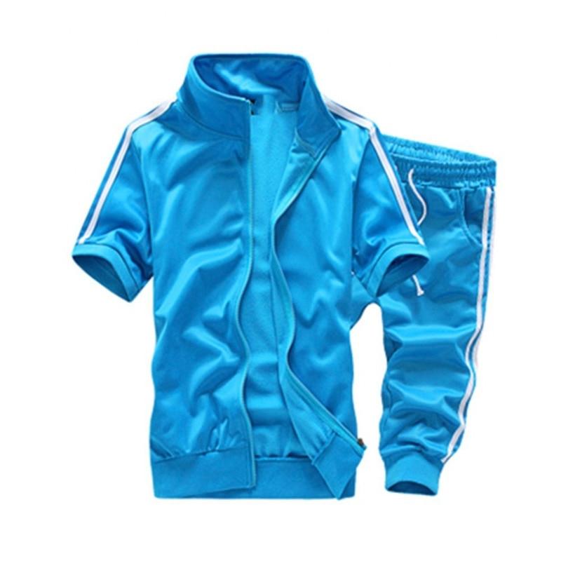 FDWERYNH Summer Fashion Tracksuit Men Set Short Sleeve Casaul Slim Fit Sporting Men Solid Color Zipper T-shirt Short Pants Set