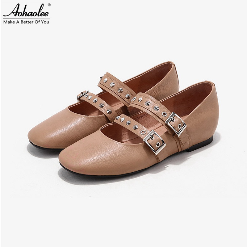 Aohaolee 2 Pair / Lot Women Ballet Shoes Genuine Leather Ballet Flats Round Toe Ankle Strap Rivet Studs Comfortable Loafer Shoes meotina women flat shoes ankle strap flats pointed toe ballet shoes two piece ladies flats beading causal shoes beige size 34 43
