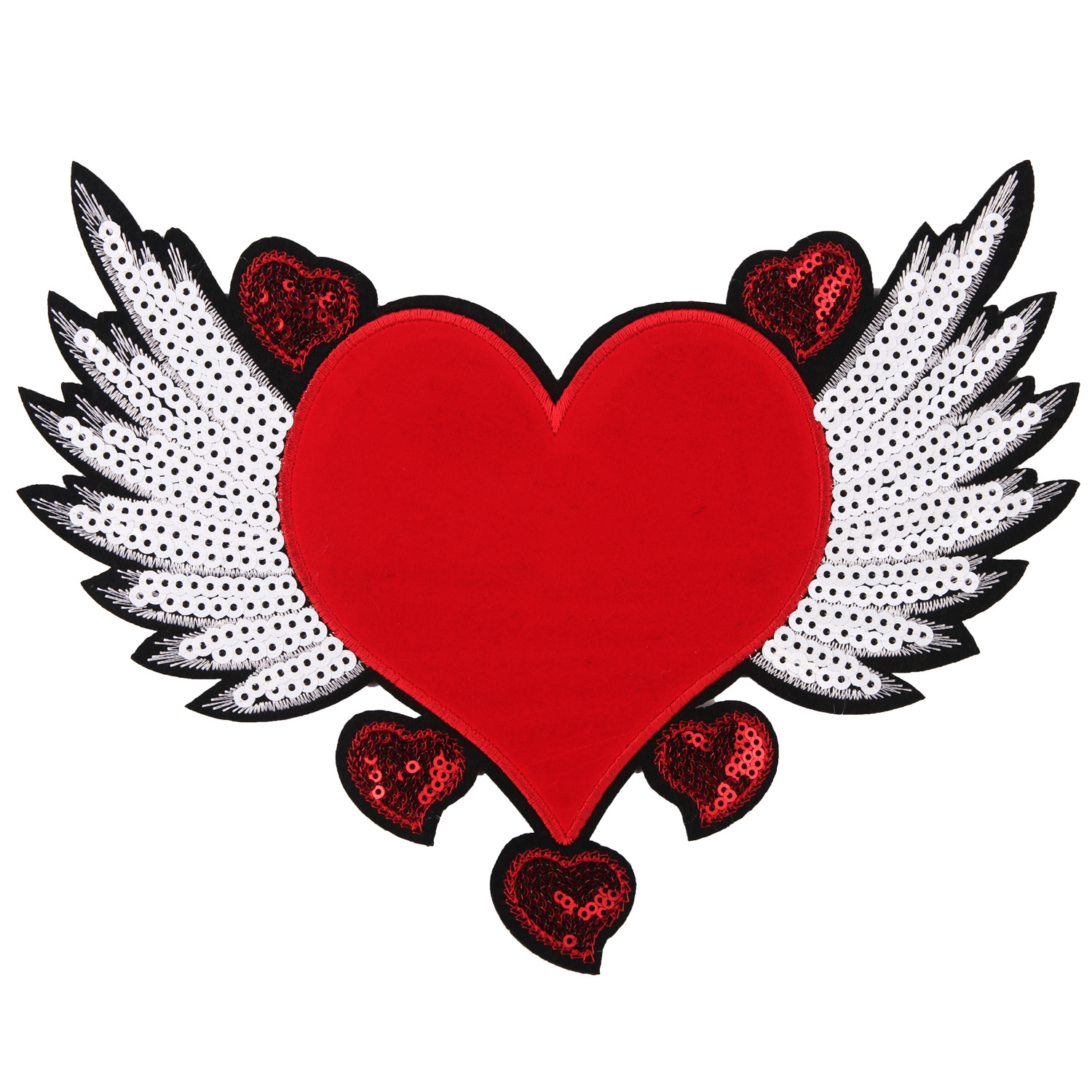 Cartoon Large Cloth Sticker Sequined Peach Heart Wings Embroidery Cloth Patch Sticker Clothing Accessories Denim Decoration