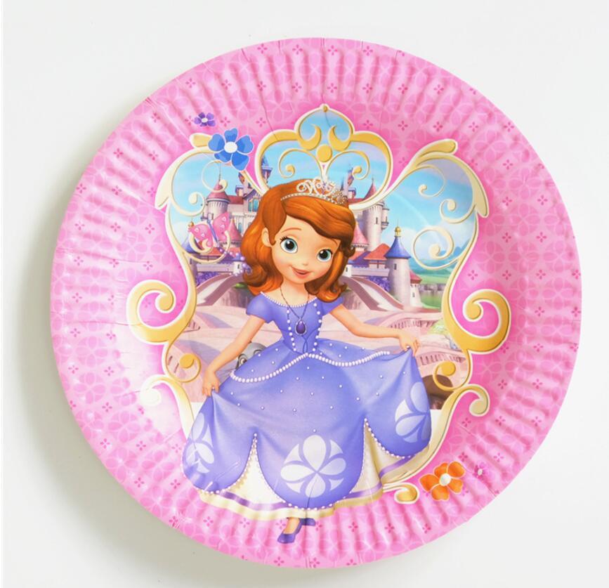 10pcs/bag Sofia Princess Party Supplies Plates Cartoon Theme Party For Kids Happy Birthday Decoration Theme Party Supplies