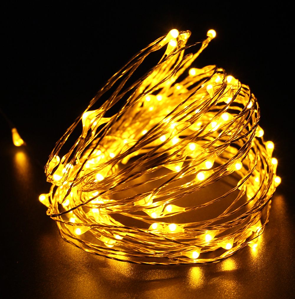 Warm White Battery Operated 10ft (3m) 30 Leds Fairy LED copper Wire String Lights for Xmas Holidays Party Wedding Decoration