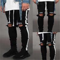 BDLJ 2019 Männer Stilvolle Zerrissene Jeans Hosen Biker Dünne Dünne Gerade Ausgefranste Denim Hosen Mode Dünne Jeans Männer Kleidung AB03