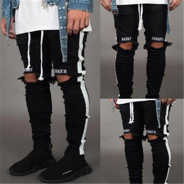 BDLJ 2019 Men Stylish Ripped Jeans Pants Biker Skinny Slim Straight Frayed Denim Trousers New Fashion