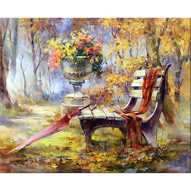 Full Square Round Drill 5D DIY Diamond Painting Fall Flower bench 3D Embroidery Cross Stitch Mosaic Rhinestone Home Decor Gift