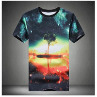 2016 Men's fashion casual Slim shirt t-shirt printing short-sleeved t-shirt men t-shirt men round neck T-shirt new