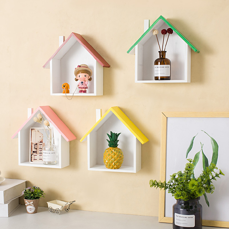 American Rural colorful Wood House Shape wall children room kindergarten porch decoration Wall Hanging Storage Box