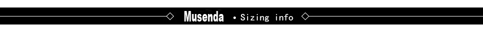 Item Sizing info