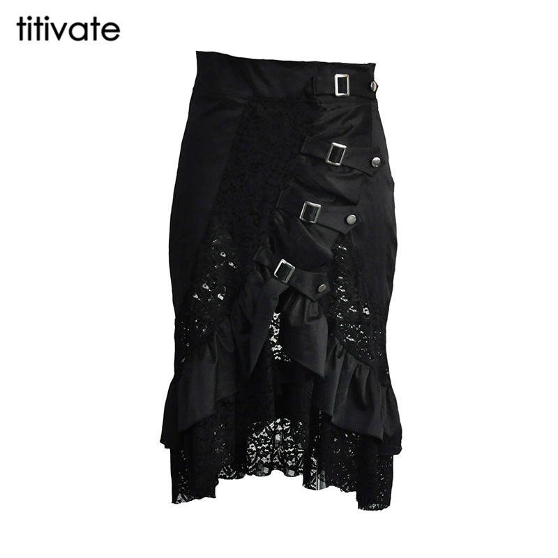 TITIVATE New Vintage Steampunk Skirts Womens Irregular Spring Gothic Punk Rock Hollow Out Black Skirts Lace Skirt Plus Size