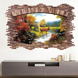 3D Floor Sticker Late Autumn Forest Deer Wall Stickers Home Decor Living Room Bedroom False Window Decoration Sticker Mural(China)